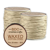 Waxed Cotton Cord Bracelet 1mm x 25 meters - Natural - 2 Pack