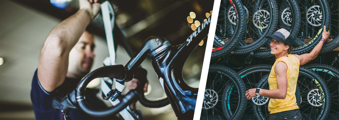 Image of engineer working on bike alongside image of woman standing in front of several bike wheels