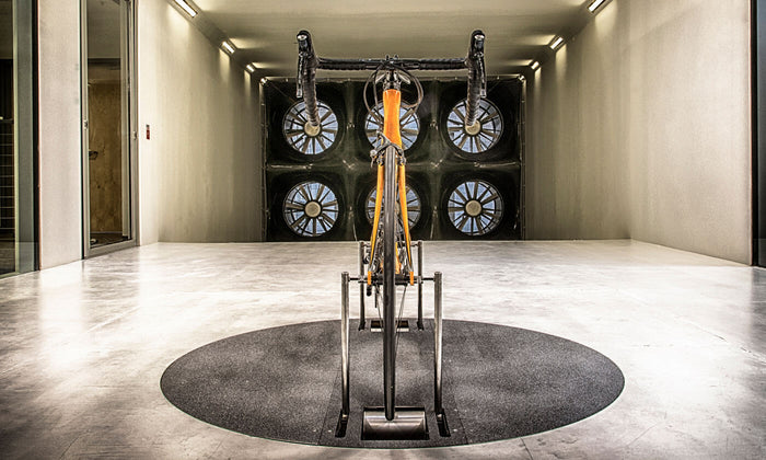 Dramatic image on bike being tested on wind tunnel