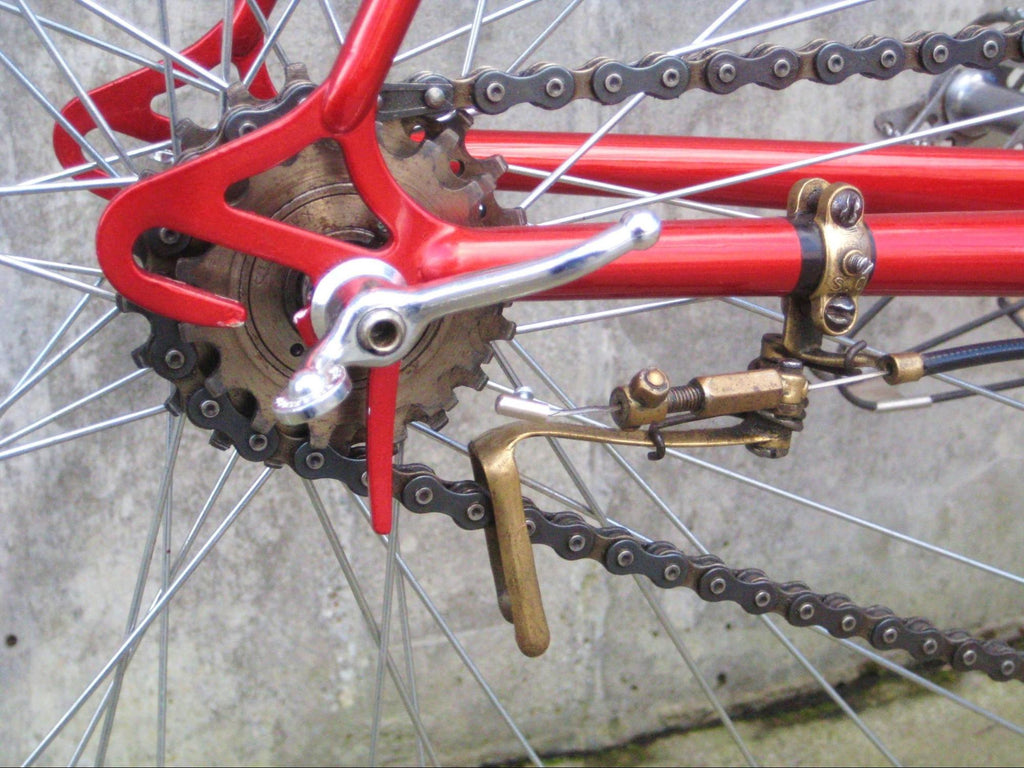 Closeup of old bike gears