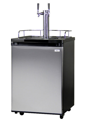 Kegco Dual Tap Black Cabinet with Stainless Steel Door Kegerator. K209SS-2