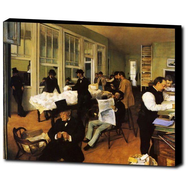 Premium Canvas Gallery Wrap - A Cotton Office In New Orleans By Edgar Degas
