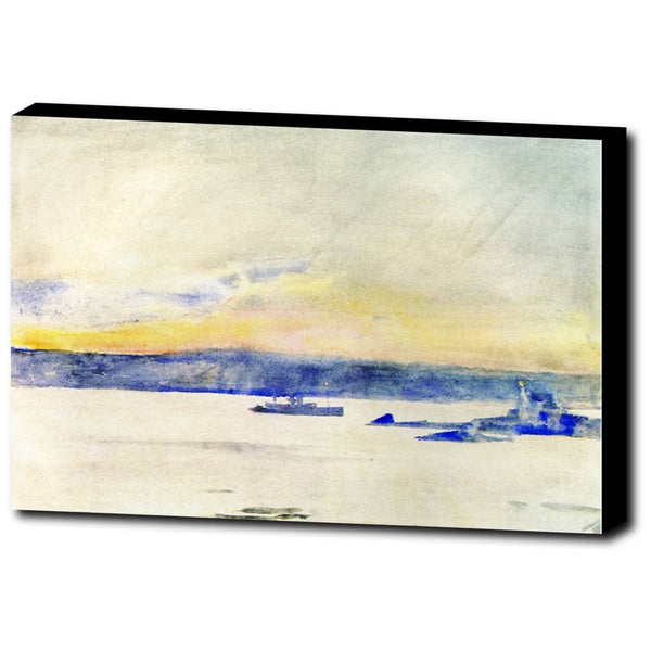 Premium Canvas Gallery Wrap - Afterglow, Gloucester Harbor (Aka Ten Pound Island Light) By Childe Hassam