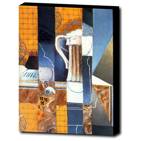 Premium Canvas Gallery Wrap - Beer Glass And Cards By Juan Gris