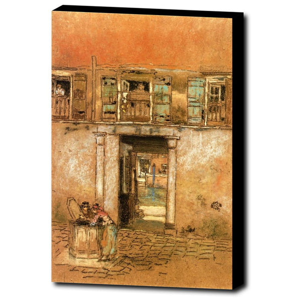 Premium Canvas Gallery Wrap - Courtyard And Canal By James McNeill Whistler