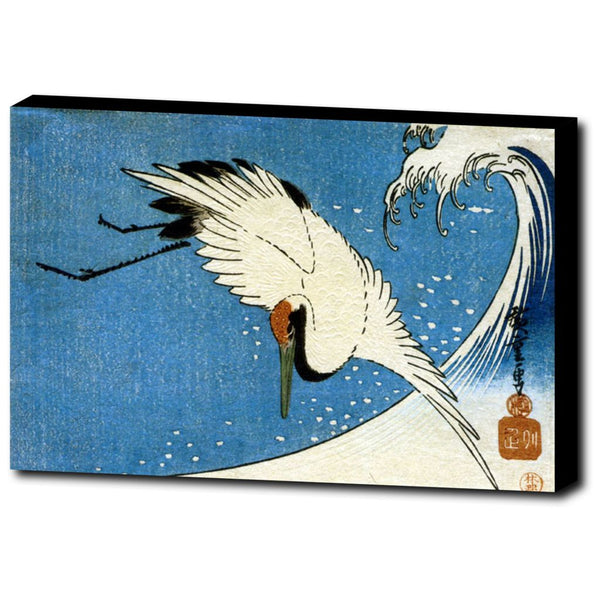 Premium Canvas Gallery Wrap - Crane And Wave By Hiroshige