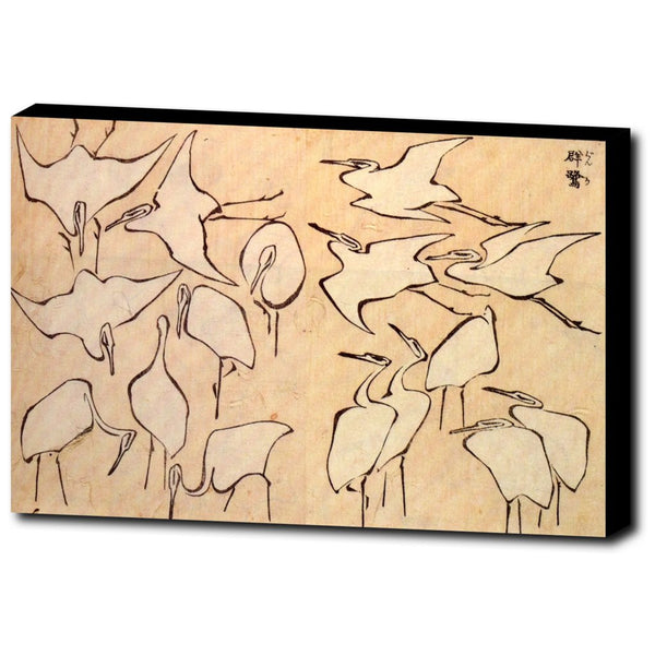 Premium Canvas Gallery Wrap - Cranes From Quick Lessons In Simplified Drawing By Katsushika Hokusai