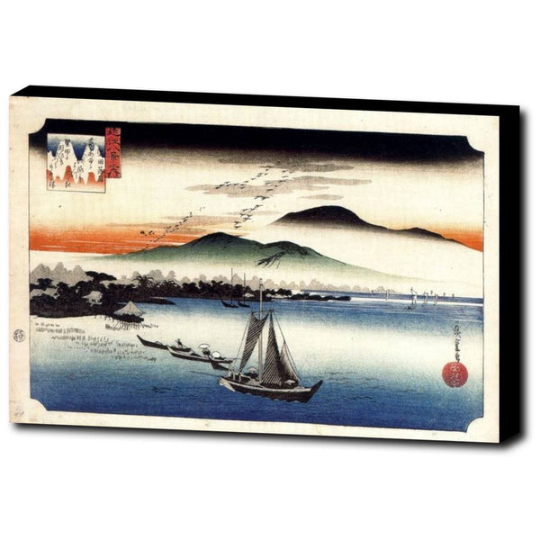 Premium Canvas Gallery Wrap - Descending Geese, Katata By Hiroshige