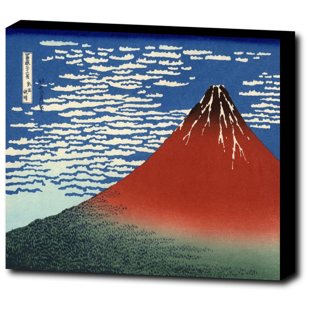 Premium Canvas Gallery Wrap - Fuji, Mountains In Clear Weather (Red Fuji) By Katsushika Hokusai