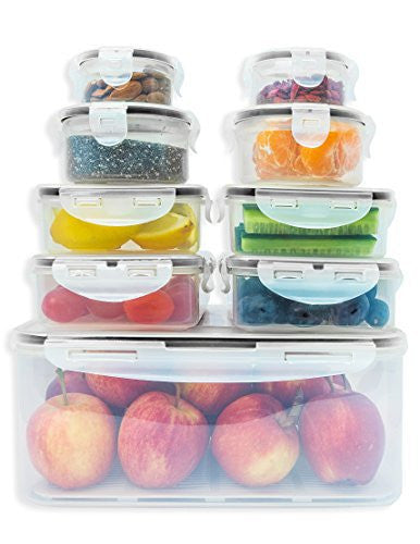 Premium Food storage containers set with smart lock lids (comparable to  Tupperware ). 9 x Airtight and BPA Free Kitchen container set (18 pieces)  by ...