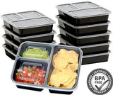 10 Pack - SimpleHouseware 3 Compartment Reusable Food Grade Meal Prep Storage Container Boxes (36 ounces)