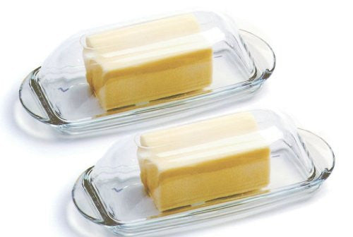 Anchor Hocking Presence Glass Butter Dish With Cover Set of 2