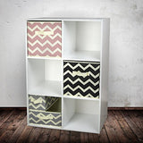 "DII Foldable Fabric Storage Containers for Nurseries, Offices, Closets, Home Décor, Cube Organizers & Everyday Storage Needs, (Large - 11 x 11 x 11"") Chevron Grey - Set of 2"