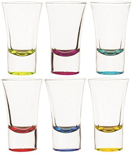 Circleware Concept Glass Shot Glass Set, 2 Ounce, Set of 6 Multi-colored Whiskey Vodka Liquor Drinking Glasses, Limited Edition Glassware