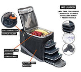 EDC Meal Prep Bag by Evolutionize - Full Meal Management System includes Portion Control Meal Prep Containers + Ice Pack (3 Meal, Black/Grey) - Patent Pending