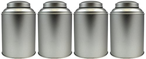 4-Pack Tea Storage Tins, Large Tea Storage Tins with Stay Fresh Double Lids (Set of 4)