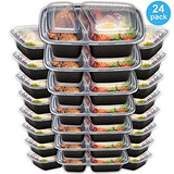 Bento Lunch Box Set - Meal Prep Food Storage - Restaurant Containers - Plastic Foodsaver (24pk, 34oz)