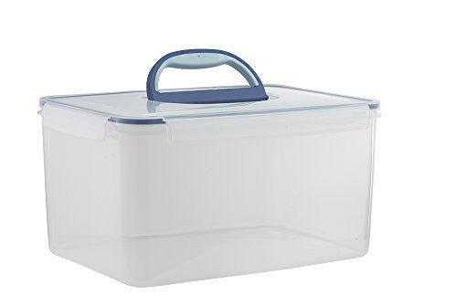 Big Size Food Storage Container Airtight with Handle Large 48.6 Cup (1 handle, Clear)