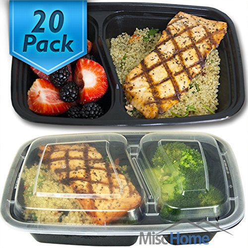 [20 Pack] 32 Oz. 2 Compartment Meal Prep Containers Durable BPA Free Plastic Reusable Food Storage Container Microwave & Dishwasher Safe w/ Airtight Lid For Portion Control & Bento Box Lunch Box