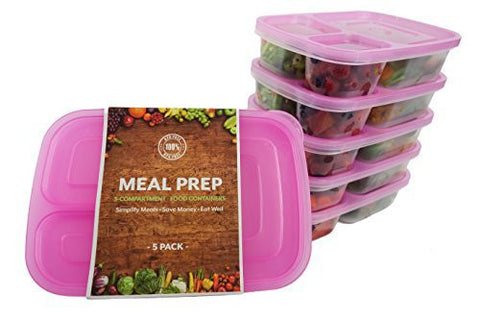 (5-Pack) TOP QUALITY, BPA FREE | 3-Compartment Stackable MEAL PREP CONTAINERS + Pink Lids | Reusable Japanese Bento Lunch Box | Portion Control Food Storage | EASY OPEN LIDS | Healthy Food Prep Boxes