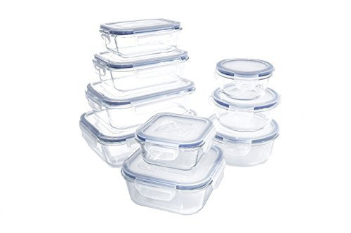 Glass Food Storage Container Set - BPA Free - Use for Home, Kitchen and Restaurant - Snap On Lids Keep Food Fresh With Airtight Seal Safe for Dishwasher, Freezer, Microwave and Oven(18 Piece)