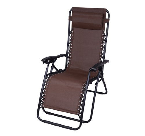 Outsunny Zero Gravity Recliner Lounge Patio Pool Chair, Brown