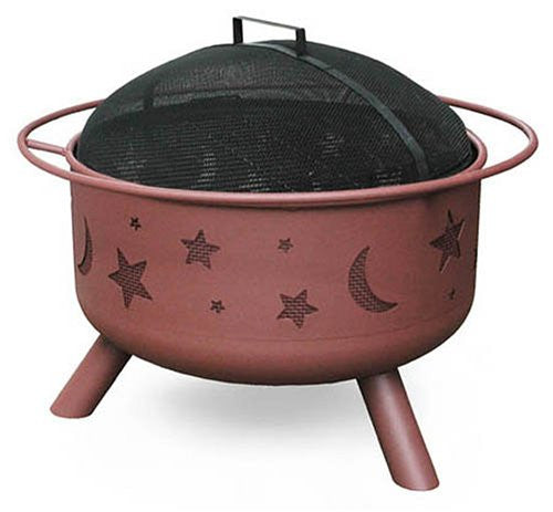 Landmann 28335 Big Sky Stars & Moons Fire Pit, Georgia Clay, 12.5-inches deep
