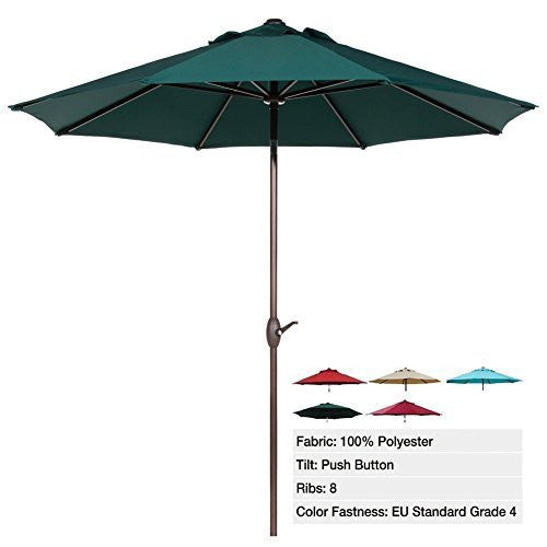 Abba Patio 9 Ft Market Aluminum Umbrella with Push Button Tilt and Crank, 8 Steel Ribs and Wind Vent, 100% Polyester, Dark Green