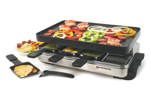 Swissmar KF-77080 8-Person Stelvio Raclette Party Grill with Reversible Grill Top