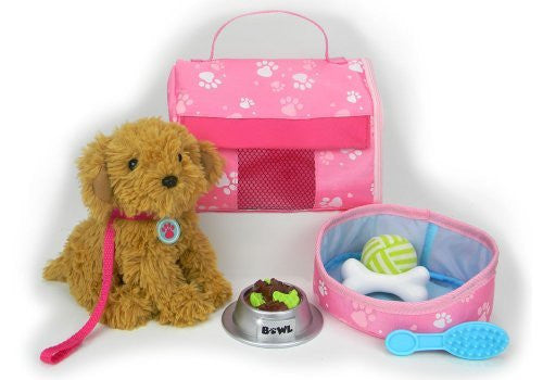 Pets for 18 Inch Dolls, Complete Puppy Dog Play Set, Perfect Doll Toy fit for 18 Inch American Girl Dolls & More! Cuddly Dog, Leash, Carrier, Bed, Food & Play Dog Accessories
