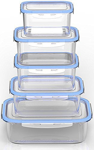Royal Glass Food Storage Containers - 10-Piece Set - BPA Free and Microwave Safe without Lids - Perfect for Meal Prep