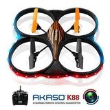 AKASO K88 2.4GHz 4 CH 6 Axis Gyro RC Quadcopter with HD Camera, 360-degree Rolling Mode 2 RTF LED RC Drone