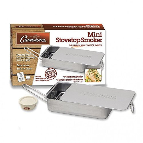 Stovetop Smoker - The Original Camerons Gourmet Mini Stainless Steel Smoker with Wood Chips - Works over any heat source, indoor or outdoor