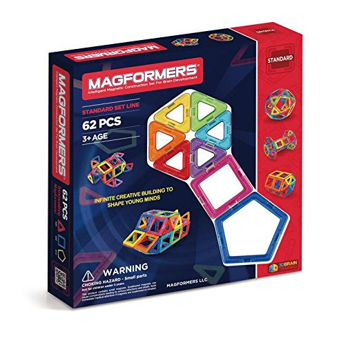 Magformers Intelligent Magnetic Construction Set for Brain Development, 62 Piece
