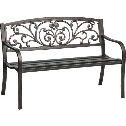 Cast Iron Powder Coated Outdoor Patio Bench, Ivy Design Backrest