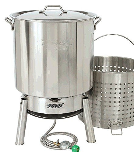 Bayou Classic Crawfish Kit 82-qt Stainless Steel Pot with Boil Basket and Jet Cooker