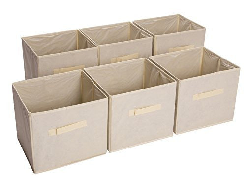 Bekith Foldable Fabric Storage Basket Bin, Beige, Set of 6