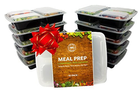 (10-Pack) TOP QUALITY, BPA FREE | 3-Compartment Stackable MEAL PREP CONTAINERS + Lids | Reusable Japanese Bento Lunch Box | Portion Control Food Storage | SAFE for Kids Lunch | Healthy Food Prep Boxes