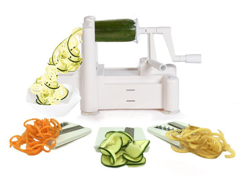 Tri-Blade Vegetable Spiral Slicer, Strongest-Heaviest, Best Veggie Pasta Spaghetti Maker for Low Carb/Paleo/Gluten-Free Meals
