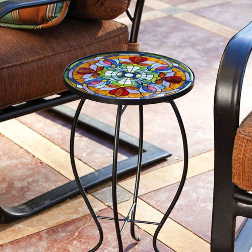 Tiffany-Inspired Floral Side Table