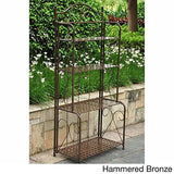 International Caravan Iron Folding Patio Bakers Rack (Hammered Bronze)
