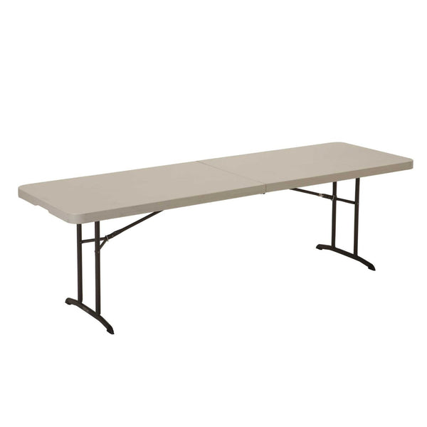 Lifetime 80175 Fold In Half Utility Table, 8 Feet, Almond