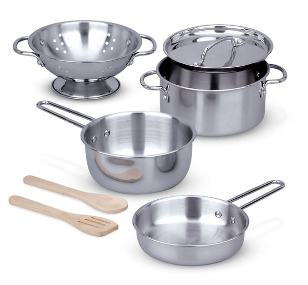 Melissa & Doug 8-Piece Stainless Stell Pots and Pans Set