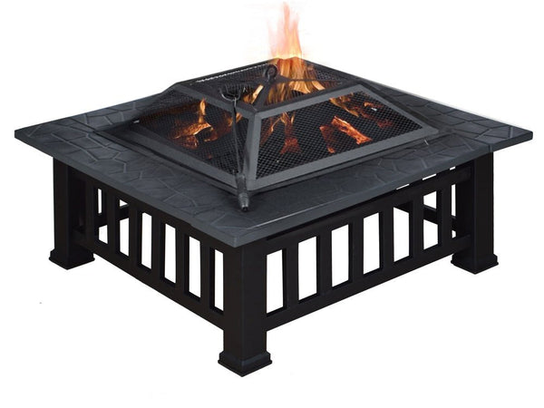 "TMS® 32"" Outdoor Metal Firepit Backyard Patio Garden Square Stove Fire Pit W/Cover"