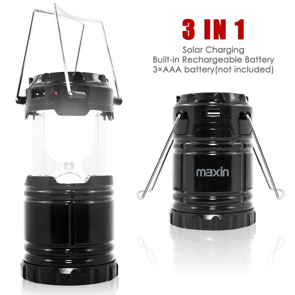 Ultra Bright Camping Lantern with Rechargeable Batteries, Water Resistant - maxin Portable LED Solar Collapsible Camping Lantern Flashlights Torch for Outdoor