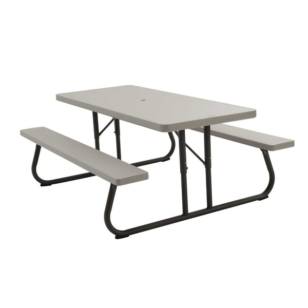 Lifetime 22119 Picnic Table and Benches, 6 Foot, Putty
