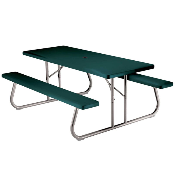 Lifetime 22123 Folding Picnic Table / Bench, 6 Feet, Hunter Green