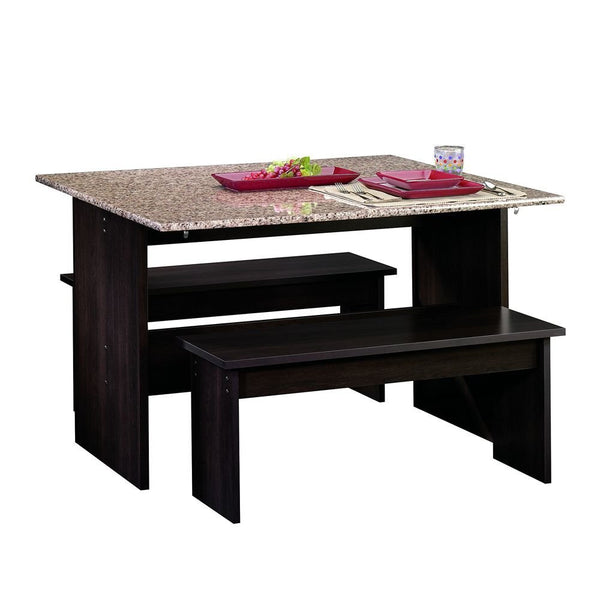 Sauder Beginnings Table With Benches Cnc in Cinnamon Cherry