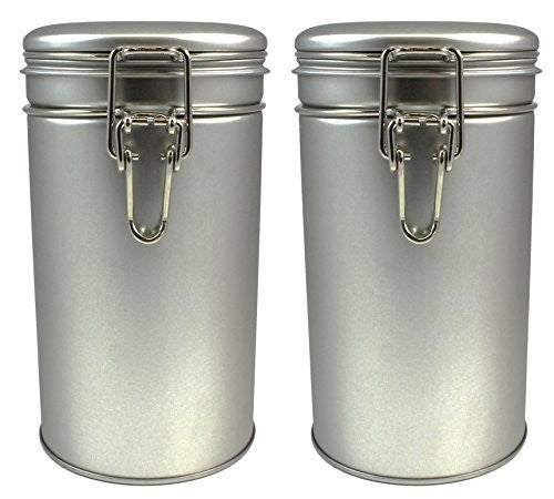 Latching Tea Storage Tin / Coffee Tin (2-pack), Round Canisters for Spices or Dry Goods Storage, Latched Lid W/ Rubber Seal, Multi-Purpose Kitchen Storage Container (Set of 2)