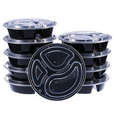 Glotech Item # SZ838 39 Ounce Food Containers - Wholesale 3 Compartment Round Black Food Storage Containers for Meal Prep-Microwave & Freezer & Dishwasher Safe,Pack of 10